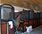 High Stall Front 22: Stall design with bar top; wood bottom; Euro-style center and bottom rails; Dutch-style door; swivel feeder and integrated water lines; and brass ball finials.