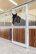 High Stall Front 8: Stall design with bar top; vented wood bottom; extra wide rails and framing; and V-yoke. Hot-dip galvanized finish.