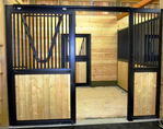 High Stall Front 28: Stall design with bar top; wood bottom; extra wide rails and framing; and V-yoke.