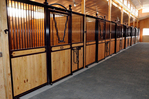 High Stall Front 40: Stall design with bar top; wood bottom; Euro-style center rail; V-yoke; and fold-down saddle rack.