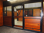 High Stall Front 44: Interior Photo. Stall design with bar top; wood and 45-degree crosshatch mesh bottom; Euro-style center and bottom rails; arched door; V-yoke; and feed door.