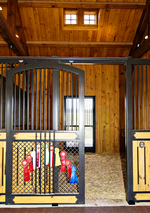 High Stall Front 46: Stall design with bar top; vented wood and 45-degree crosshatch mesh bottom; Euro-style center and bottom rails; and arched door.