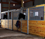 High Stall Front 61: Stall design with bar top; wood bottom; V-yoke; and feed hole. Hot-dip galvanized finish.