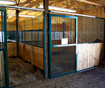 High Stall Front 71: Stall design with bar top; wood and crosshatch mesh bottom.