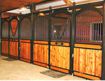 High Stall Front 77: Stall design with bar top; wood bottom; arches; V-yoke; and painted ball finials.